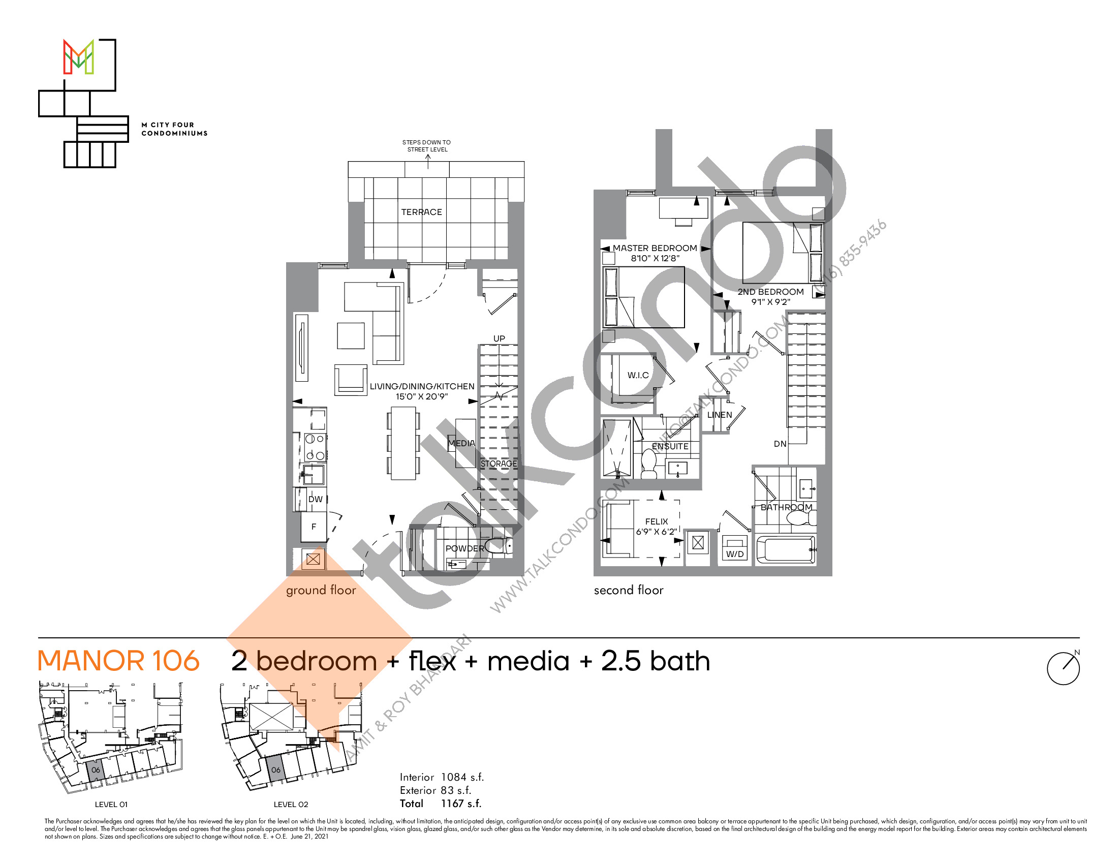 Manor 106 Floor Plan at M4 Condos - 1084 sq.ft