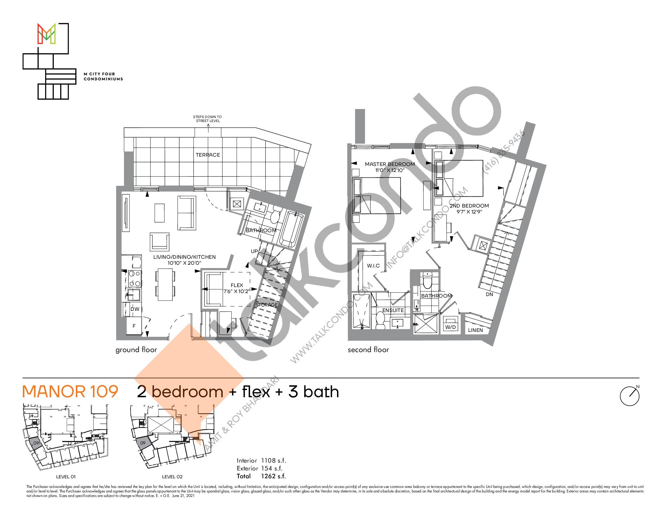 Manor 109 Floor Plan at M4 Condos - 1108 sq.ft