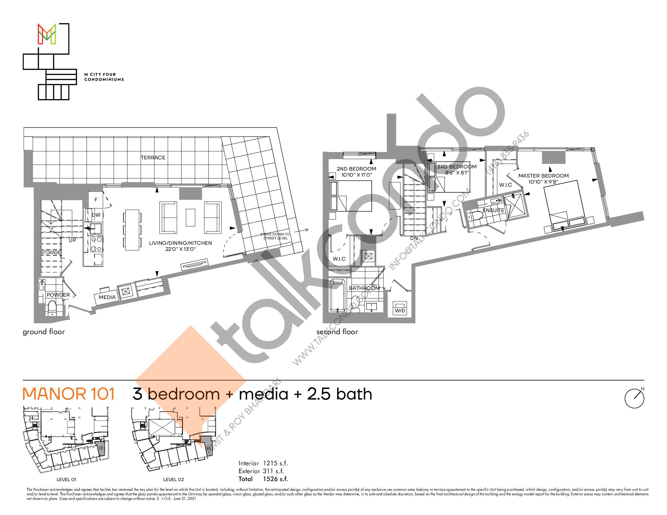 Manor 101 Floor Plan at M4 Condos - 1215 sq.ft
