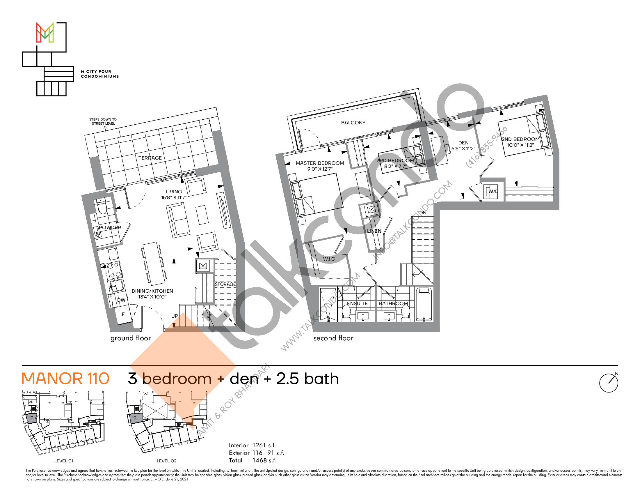 Manor 110 Floor Plan at M4 Condos - 1261 sq.ft