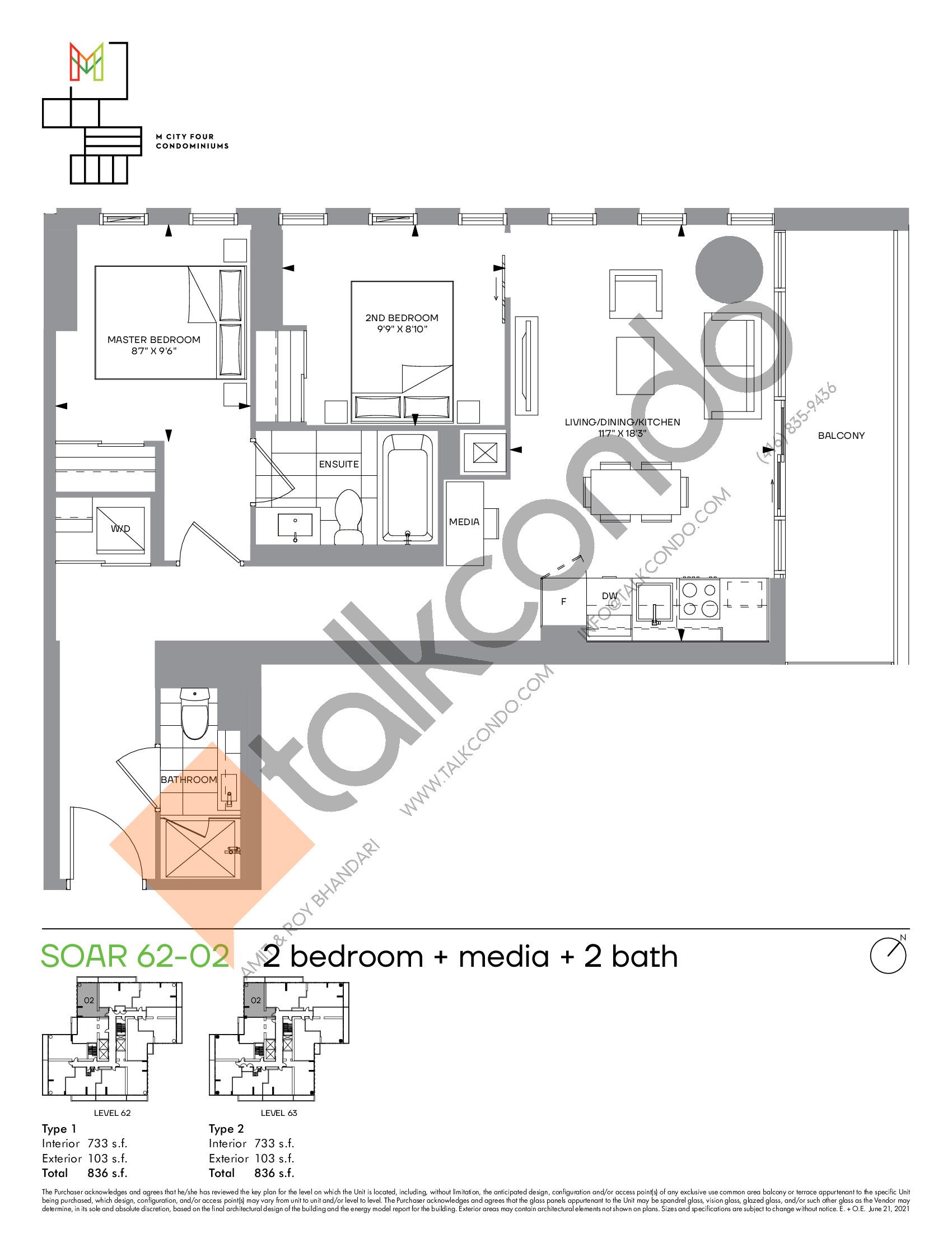 Soar 62-02 Floor Plan at M4 Condos - 733 sq.ft