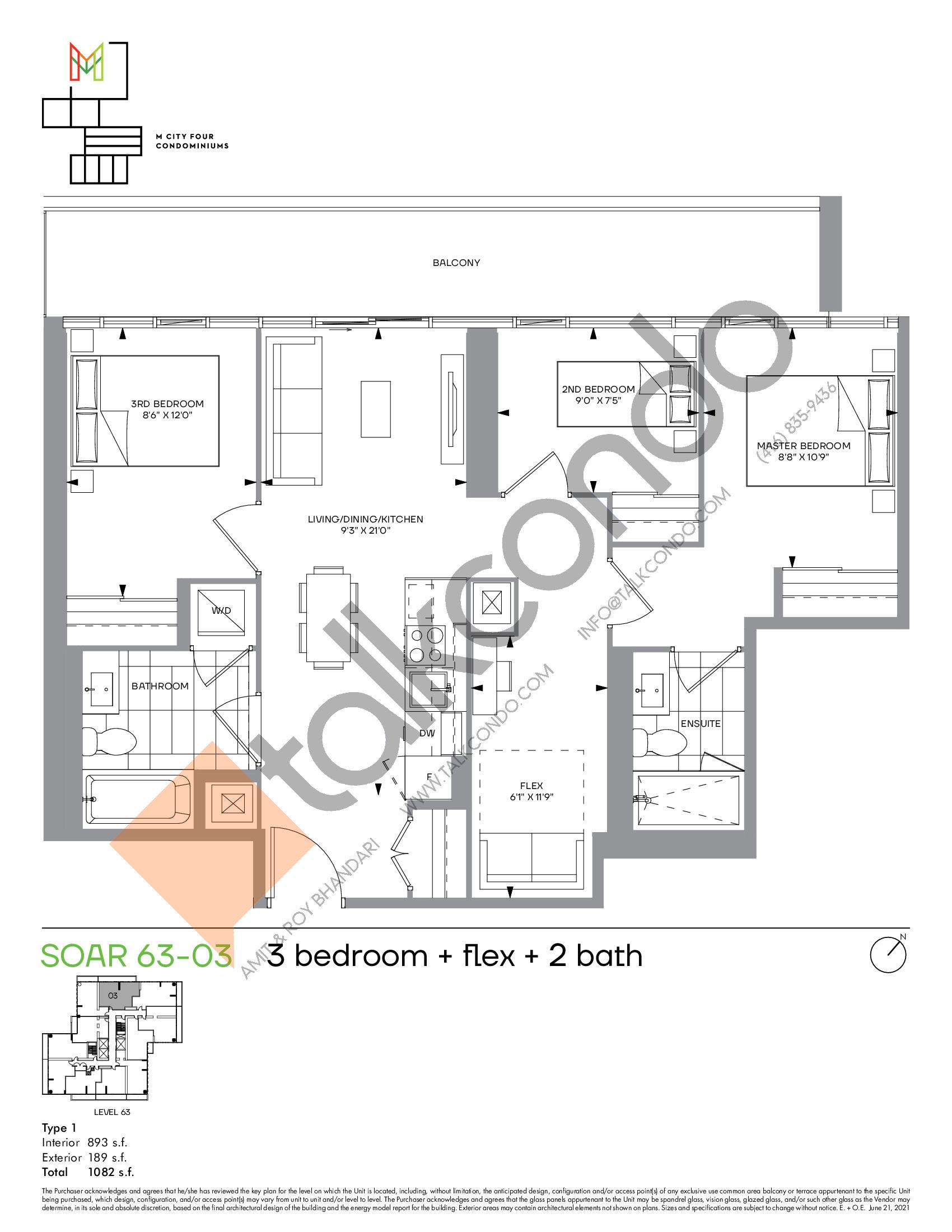Soar 63-03 Floor Plan at M4 Condos - 893 sq.ft