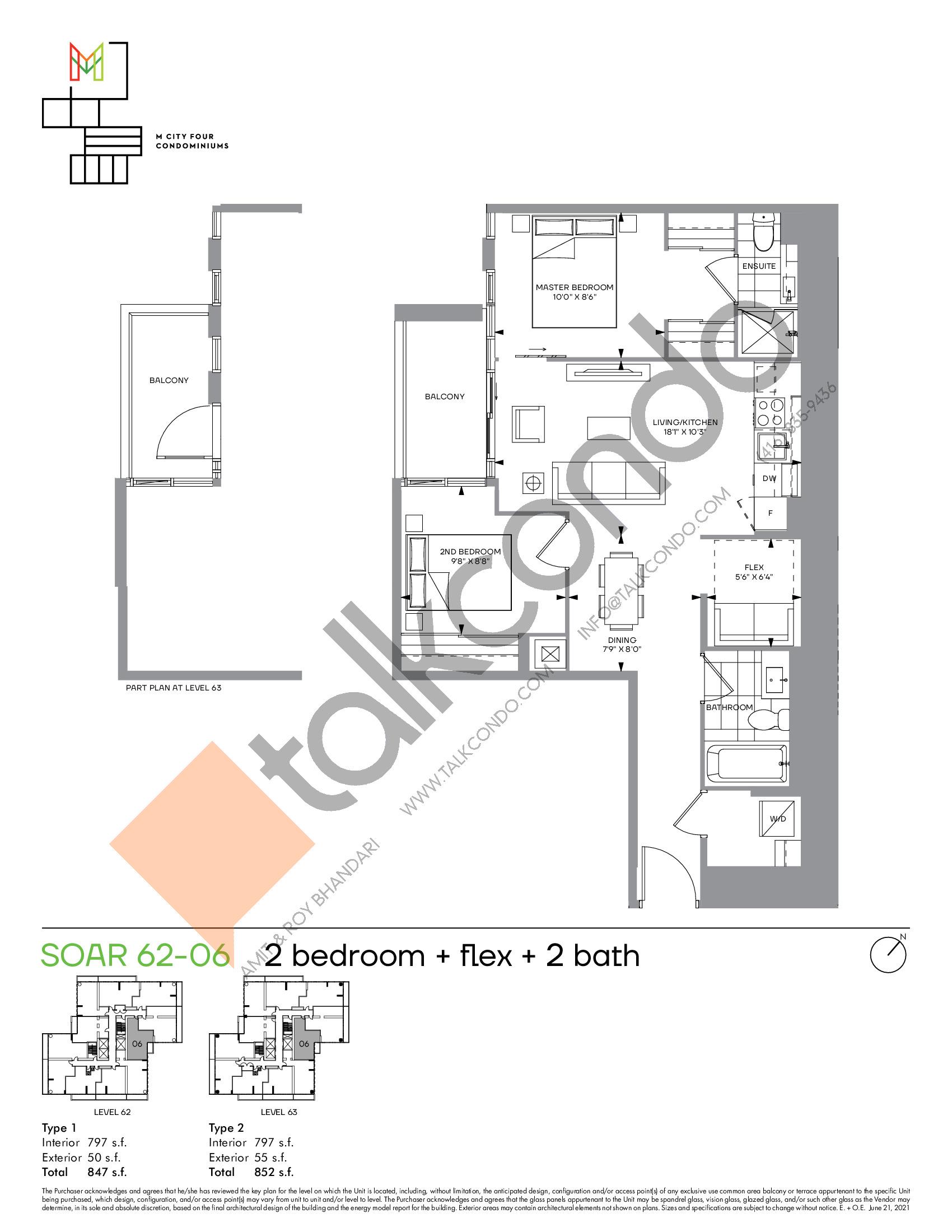 Soar 62-06 Floor Plan at M4 Condos - 797 sq.ft