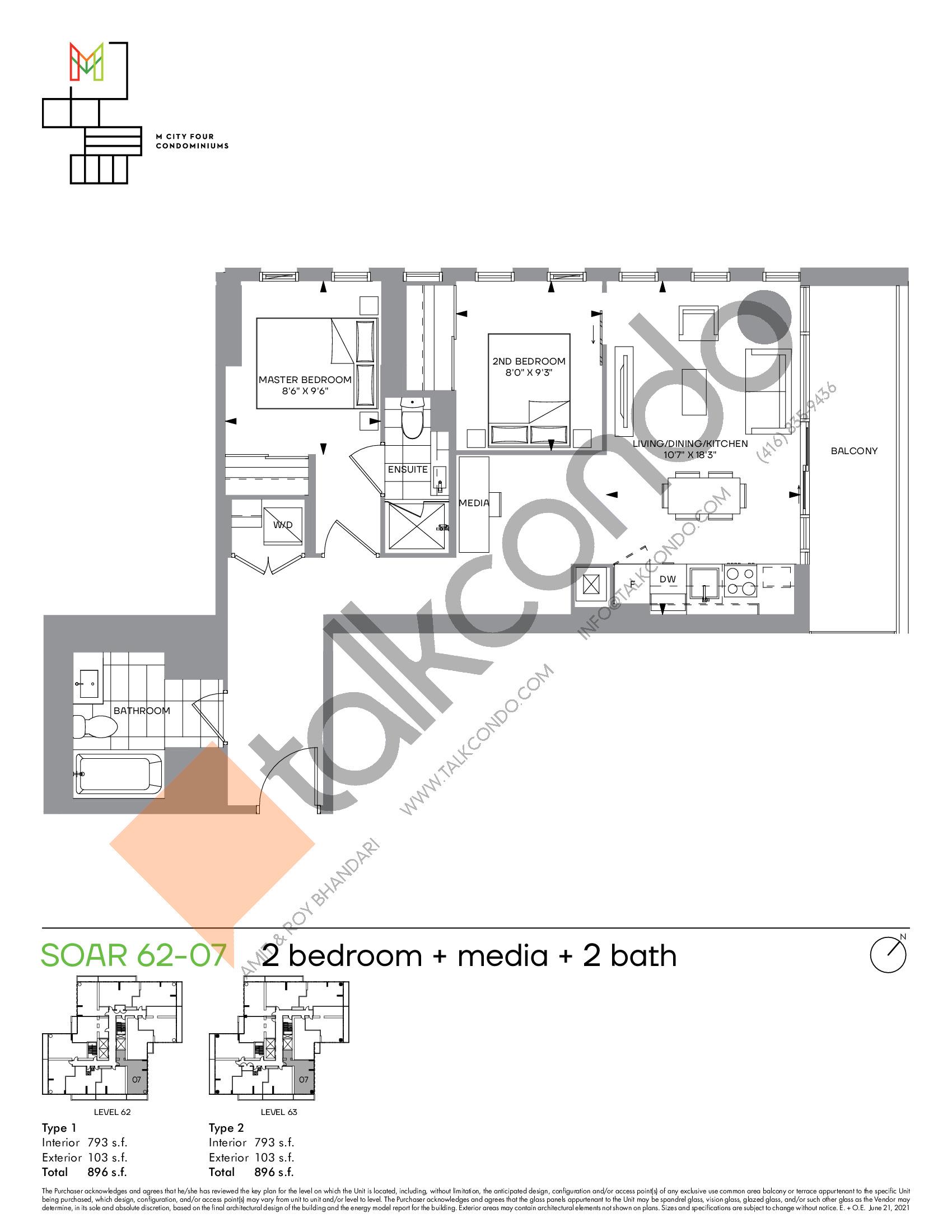 Soar 62-07 Floor Plan at M4 Condos - 793 sq.ft