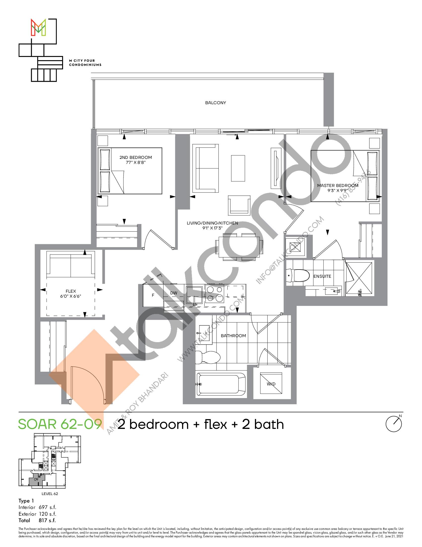 Soar 62-09 Floor Plan at M4 Condos - 697 sq.ft