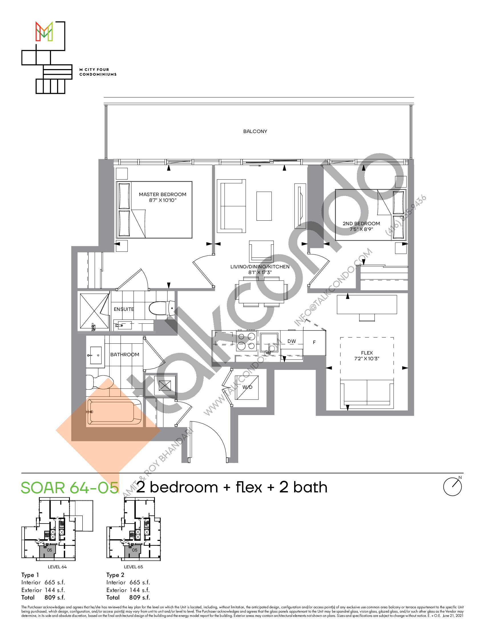 Soar 64-05 Floor Plan at M4 Condos - 665 sq.ft