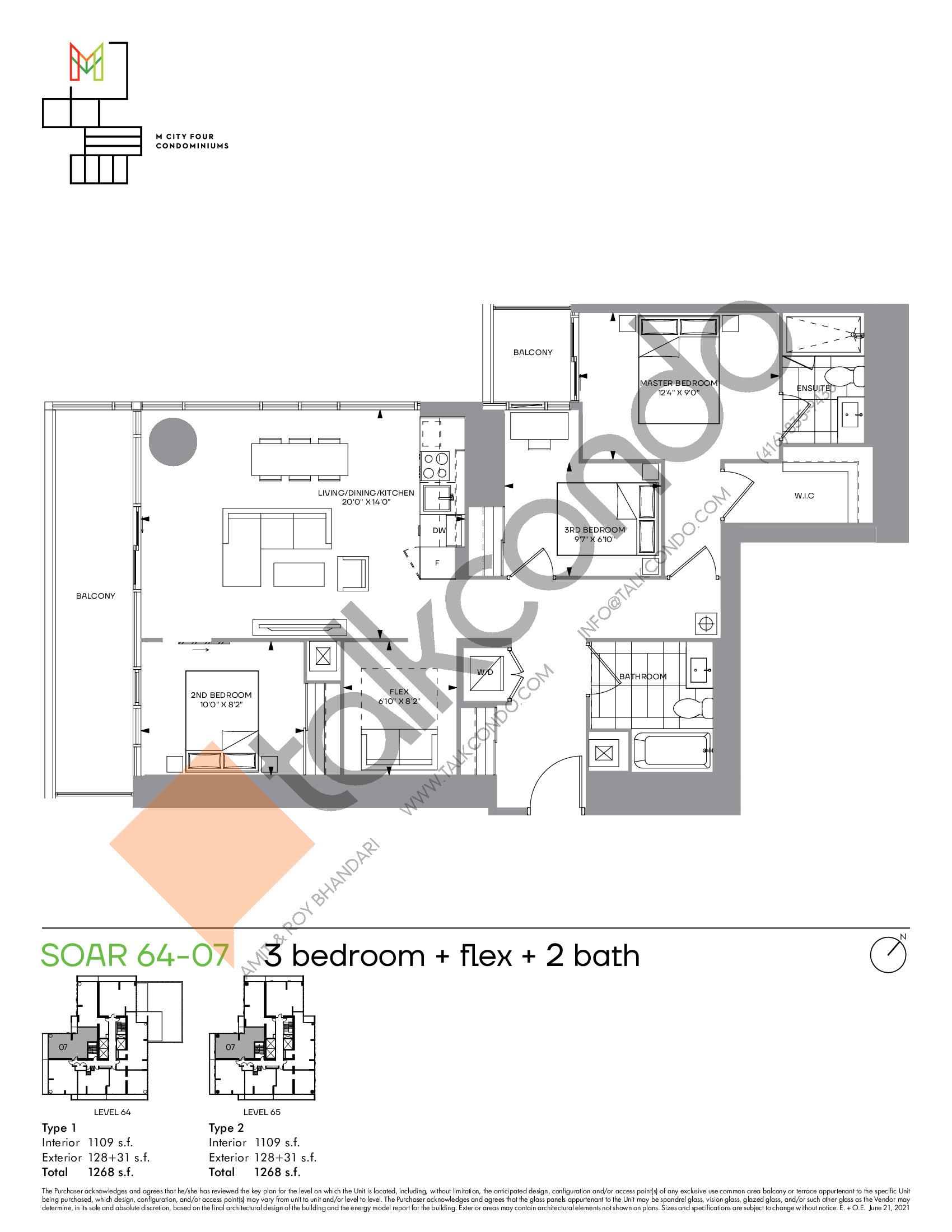 Soar 64-07 Floor Plan at M4 Condos - 1109 sq.ft