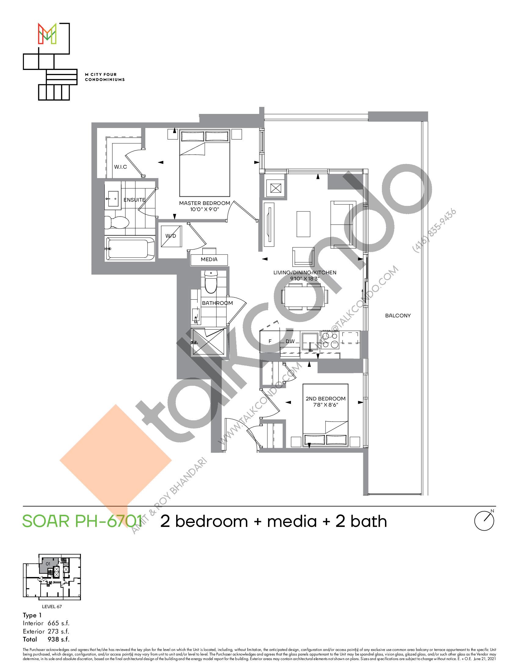 Soar PH-6701 Floor Plan at M4 Condos - 665 sq.ft