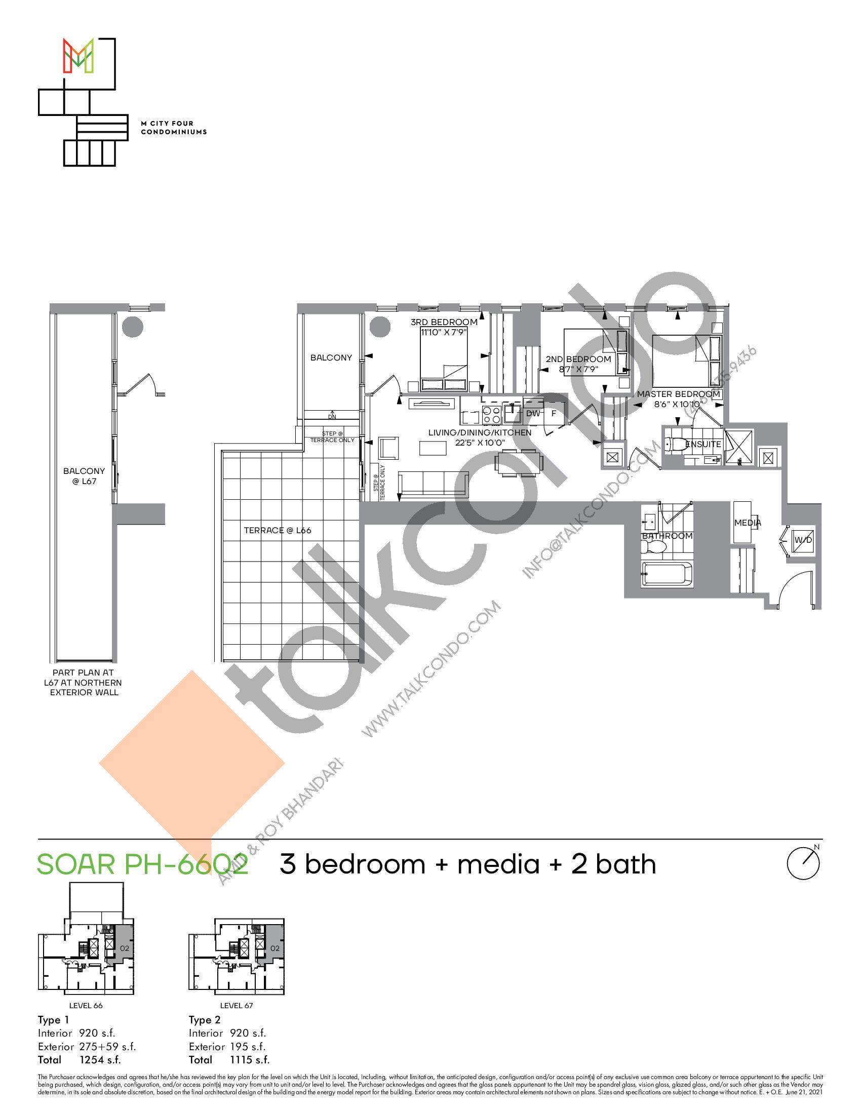Soar PH-6602 Floor Plan at M4 Condos - 920 sq.ft