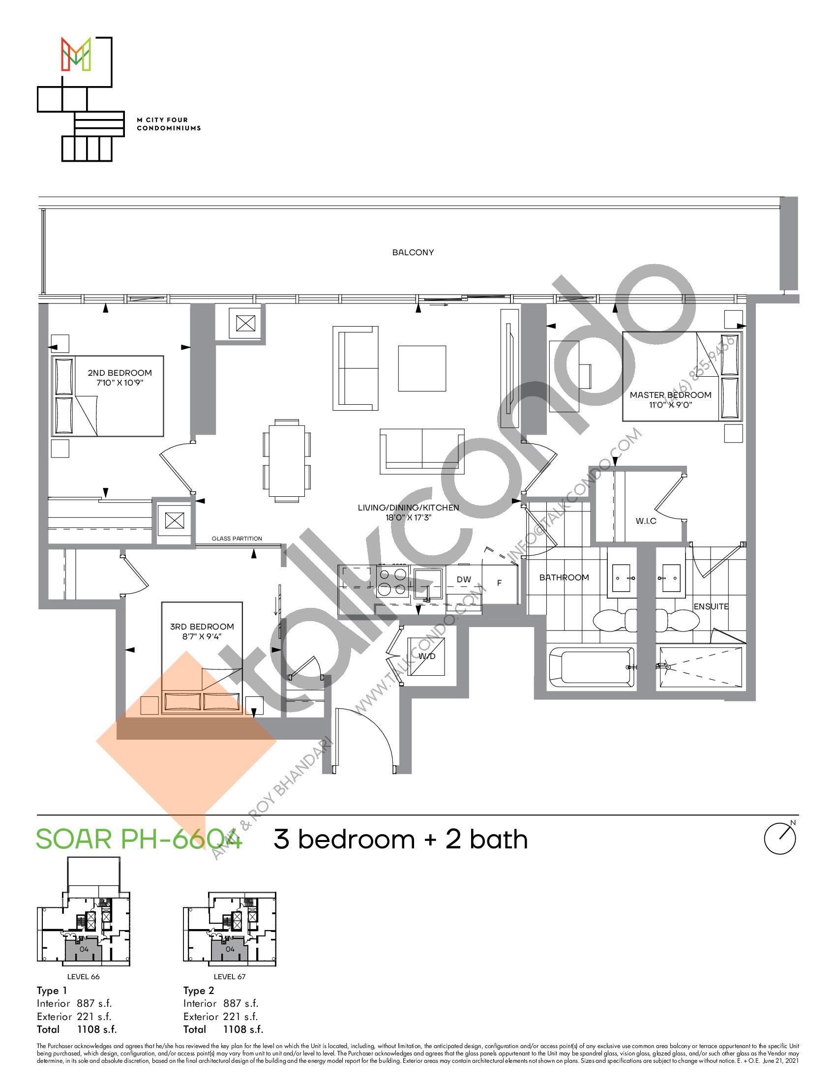 Soar PH-6604 Floor Plan at M4 Condos - 887 sq.ft