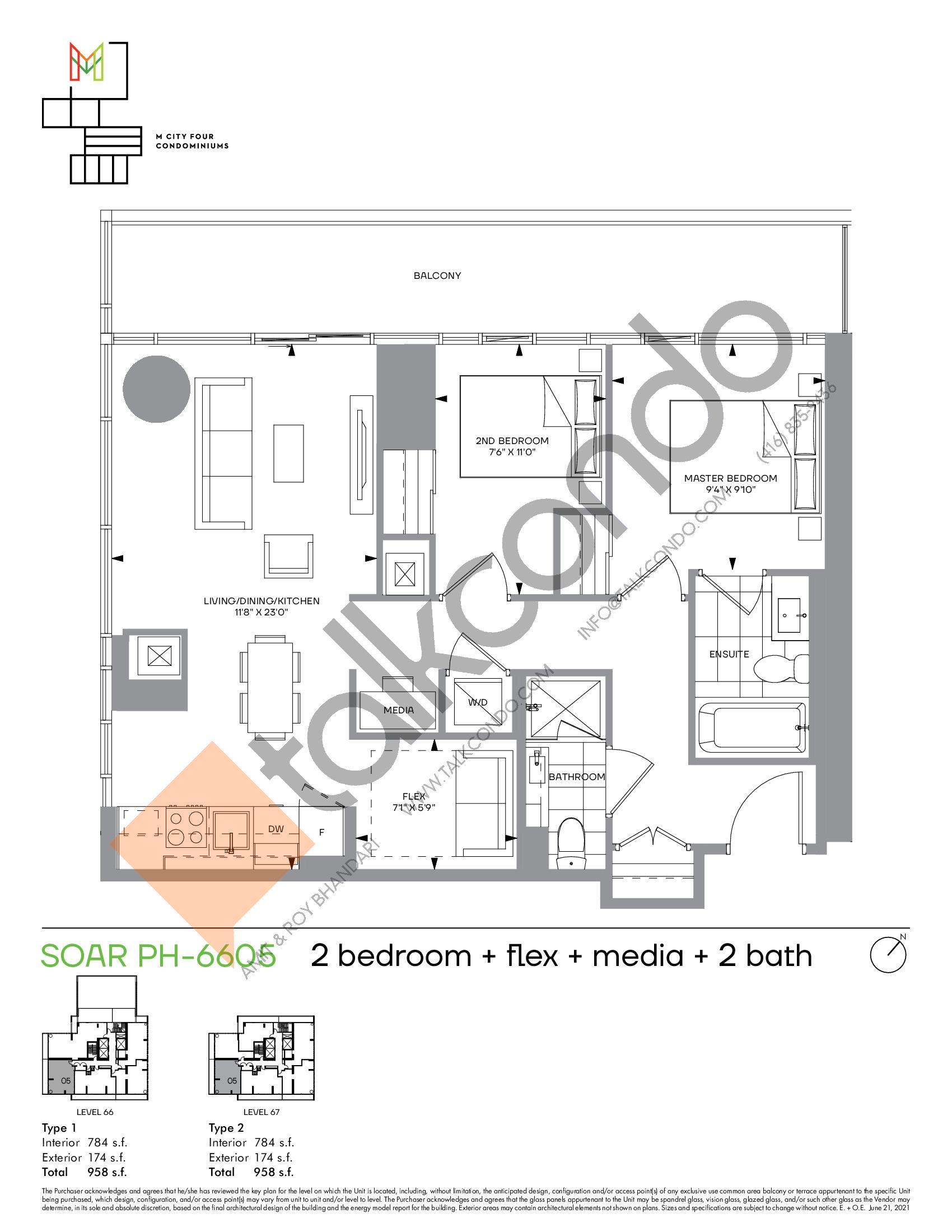 Soar PH-6605 Floor Plan at M4 Condos - 784 sq.ft