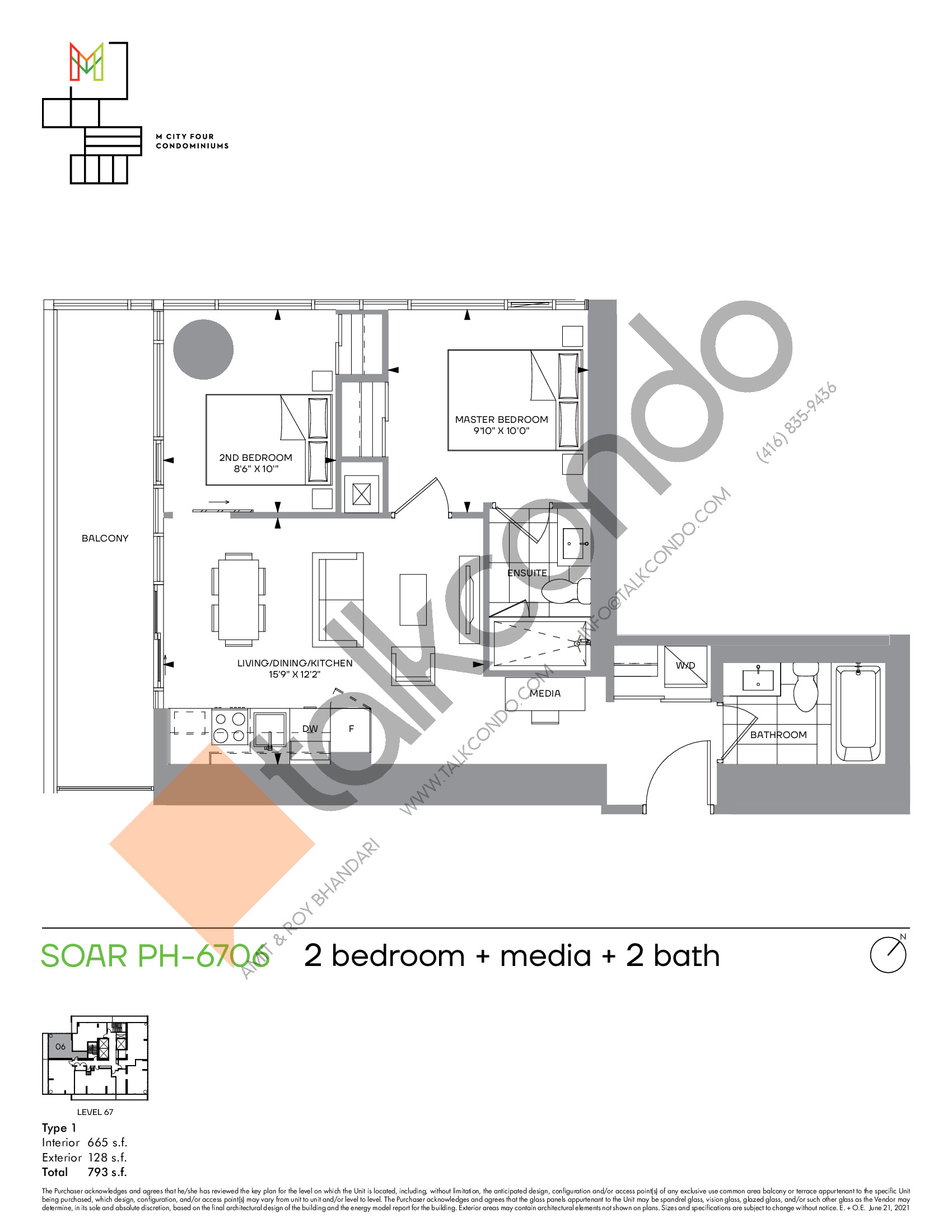 Soar PH-6706 Floor Plan at M4 Condos - 665 sq.ft